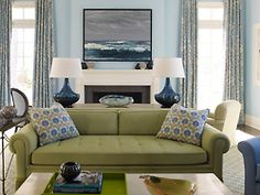 Happy and chic blue and green vignette in the living room of a family home in Westchester, NY by Gideon Mendelson.