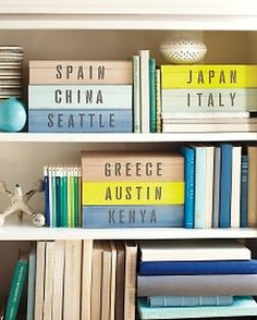 Love this idea. I totally have stacks of pictures and momentos to put in my scrapbook, but never had the time. I could make a box each time I go somewhere. These would look great on my DVD shelf, bookshelf, or even on the mantle!
