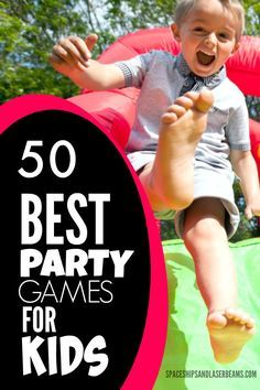 Awesome decorations and birthday cakes on fine dessert tables will delight young party guests…for a little while…but great party games will get everyone involved in playing together, laughing, and really having fun. This collection of 50 terrific party game ideas lists... #birthday #featured #games