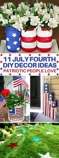 Travel, Natural Remedies, and Recipes These 11 July Fourth DIY Decor Ideas Are Perfect For You Party! 4th July Crafts, Fourth Of July Decor, Patriotic Crafts, 4th Of July Party, July 4th, Fouth Of July Crafts, Patriotic Party, Memorial Day Decorations, 4th Of July Decorations