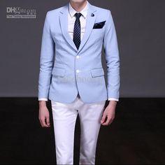 Wholesale custom made new Men Wedding Groom wedding suits light blue Bridegroom suits Groom Tuxedos 23, Free shipping, $100.8-112.0/Set | DHgate