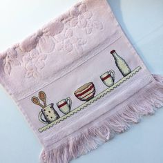 Cross Stitch Embroidery, Cross Stitch Patterns, Crochet, Towel, Bargello, Crafts, Diy, Vintage, Miniature Kitchen