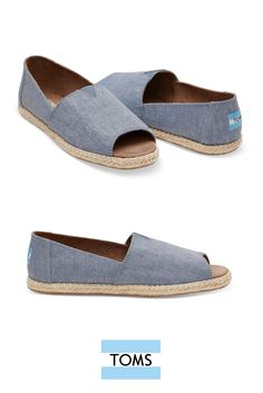 Show a little toe in Blue Slub Chambray Women's Open Toe Espadrilles from TOMS.