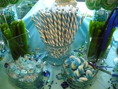 Blue and Green Candy Buffet