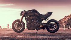 """Bull Gold"" Custom Yamaha MT-01 2005 by Kekedesign Artkustom | One-off rear subframe | Ducati Diavel style rear light | Spoked wheels | Clip on bars | Yamaha MT-03 headlight | France | via RocketGarage.blogspot.com"