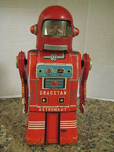 Cragstan Astronaut Tin Toy Robot Man's Face Working Yonezawa Japan Super RARE | eBay