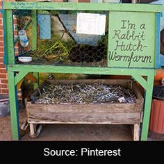 A rabbit hutch worm farm reduces waste and generates valuable organic fertilizer. Place worm bins under a rabbit hutch. The waste falls into the bins for automatic composting. How do you make a Rabbit Hutch Worm Farm? Meat Rabbits, Raising Rabbits, Feeding Goats, Permaculture Design, Rabbit Farm, Rabbit Cages, Rabbit Pen, Rabbit Hutches, Rabbit Hutch Plans