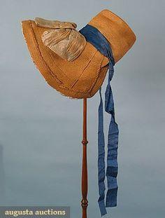 Augusta Auctions, March/April 2005 Vintage Clothing & Textile Auction, Lot 323: Lady's Natural Straw Bonnet, C. 1830
