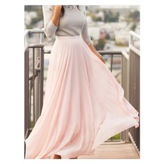 Pink Chiffon Flare Long Skirt ($18) ❤ liked on Polyvore featuring skirts