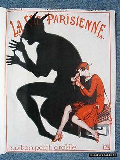 """La Vie Parisienne cover: un bon petit diable, 9 Jan. 1926 - """"A good little devil. Vintage Advertisements, Vintage Ads, Vintage Posters, French Posters, Vintage Prints, Art Illustration Vintage, Paris Illustration, Magazine Illustration, Art Deco Posters"""