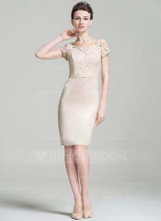 Sheath/Column Scoop Neck Knee-Length Satin Lace Mother of the Bride Dress With Beading Sequins (008074198)