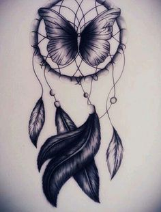 Butterfly Dream Catcher tatoo with added color Atrapasueños Tattoo, Tattoo Drawings, Body Art Tattoos, New Tattoos, Tattoo Bird, Thigh Tattoos, Tattoo Feather, Tatoos, Cross Tattoos