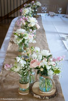 A very natural top table design at Priston Watermill matching ingredients found growing around the Mill gardens. The Wilde Bunch 'Bringing the beauty of the garden into the Barn'. Rehearsal Dinner Decorations, Rehearsal Dinners, Wedding Flowers, Wedding Stuff, Wedding Ideas, Stone Barns, Table Decorations, Gardens, Weddings