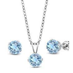 2.25 Ct Sky Blue Aquamarine 925 Sterling Silver Pendant Earrings Set With Chain. 2.25 Ct. 6mm Round Sky Blue Aquamarine. 925 Sterling Silver Pendant Earrings Set. With 18 Inch 925 Sterling Silver Chain. Gemstones may have been treated to improve their appearance or durability and may require special care.