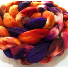 Hand-dyed Roving -Corriedale Top - 'Harvest Moon' Colorway - 4oz. by danceswithyarns on Etsy