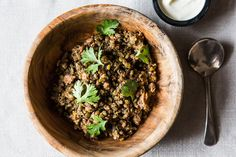 add some spinach and you have a easy, well balanced lunch/dinner!  - Crispy Lentils with Ground Lamb