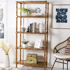 Ebo Modern Coastal 4 Tier Etagere in Brown - Safavieh and refreshing, this modern coastal étagère is a contemporary classic. Its brown lacquered bamboo adds relaxed sophistication to any living room or office. Modern Coastal, Coastal Style, Coastal Decor, Coastal Farmhouse, Coastal Industrial, Coastal Entryway, Coastal Rugs, Coastal Cottage, Farmhouse Decor