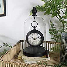 Black Mantel Clock in Glass Cloche Dome Case interiordesign Wall Mirror With Shelf, Silver Wall Mirror, Skeleton Wall Clock, Cloche Decor, Frosted Christmas Tree, Glass Tealight Candle Holders, White Clocks, Glass Domes, Glass Dome Display