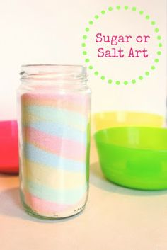 Sugar or Salt Art  - layered sand jars made with sidewalk chalk and sugar or salt
