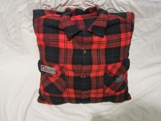 Flannel Red Plaid Shirt Pillow...