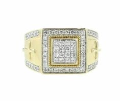 925 Silver Diamond Men's Cross on Sides Religious Ring Yellow Gold FN Mens Silver Rings, Silver Man, 925 Silver, Round Cut Diamond, Round Diamonds, Diamond Wedding Bands, Diamond Rings, Mens Pinky Ring, Mens Crosses