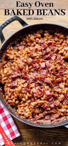 Easy Oven Baked Beans Recipe Summer parties aren't complete without a pan of our sweet, thick, Oven Baked Beans Recipe! Easy to make and flavored with sweet onion, bacon & brown sugar. Baked Beans In Oven, Slow Cooker Baked Beans, Baked Beans With Bacon, Oven Baked, Side Dishes For Bbq, Vegetable Side Dishes, Side Dish Recipes, Potluck Recipes, Dessert Recipes