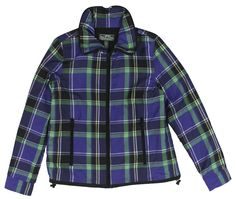 Lauren Active Women's Plaid Drawstring Zip-Up Jacket ** Unbelievable item right here! : Plus size coats Plus Size Coats, Vest Jacket, Zip Ups, Plaid, Purple, Jackets, Stuff To Buy, Shopping, Tops