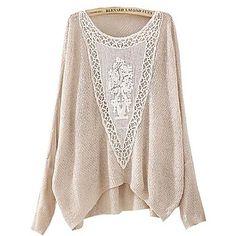 Sheinside Women's Beige Batwing Long Sleeve Hollow Embroidered Sweater - USD $ 27.59