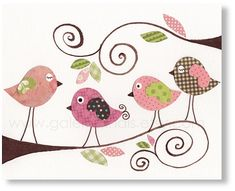 birds nursery Pink Nursery art prints - baby nursery decor - nursery art - children print - baby art Gossip Birds print