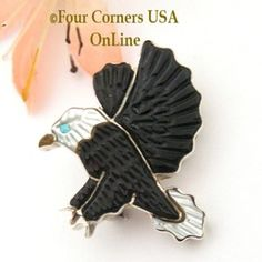 Eagle in Flight Pin Pendant Combo by Native American Zuni Andrea Lonjose Shirley Four Corners USA OnLine NAP-09445