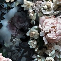 Still Life with Shadows Blue Wallpaper - Floral Wallpaper - by Ellie Cashman Design