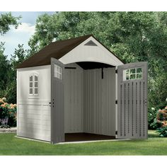 Cascade Storage Shed X - Vanilla/Stone Gray - Suncast, Gray White Plastic Storage Sheds, Outdoor Storage Sheds, Shed Storage, Australian Sheds, Building A Shed Roof, Garbage Shed, Yard Sheds, Modern Shed, Bungalow Homes