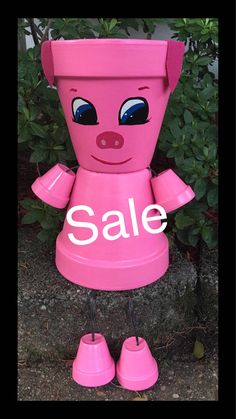 SALE Pig Flower Pot People, Pig Planter Clay Pot People,  Farm Animal,  Yard Decoration, Garden Decor, Pig Decor by GARDENFRIENDSNJ on Etsy https://www.etsy.com/listing/538499222/sale-pig-flower-pot-people-pig-planter