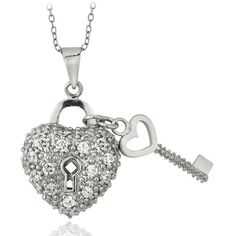 Icz Stonez Sterling Silver CZ Heart and Key Necklace ($25) ❤ liked on Polyvore featuring jewelry, necklaces, white, cable chain necklace, key pendant necklace, sterling silver heart charm, sterling silver charms and sterling silver heart pendant