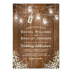 Christmas winter wedding invitations featuring a rustic barn wood background, string twinkle mason jar lights, a babys breath floral corner decor, a tag tied with a knot featuring your initials and a simple wedding template. #LaminateFlooringPrices Woodland Wedding Invitations, Christmas Wedding Invitations, Custom Invitations, Wedding Cards, Twinkle Lights Wedding, Gypsophila Wedding, Jam Jar, Mason Jar Lighting, Jar Lights