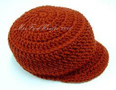 Crochet Beanie Hat with Short Visor