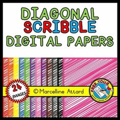 12 COLORFUL DESIGNS - DIAGONAL SCRIBBLE DIGI PAPERS WITH SAME COLOR BORDER!  IN THIS ZIPPED FOLDER, YOU WILL FIND 24 IMAGES (12 PNGS (TRANSPARENT BACKGROUND) + 12 JPGS). I HAVE INCLUDED THE JPGS SINCE THEY HAVE A WHITE BACKGROUND. YOU CAN CHOOSE WHICH ONE FIT BEST FOR YOUR PROJECT.