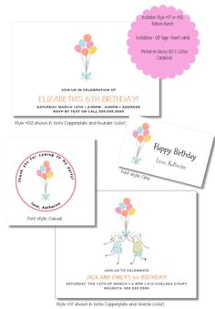 Balloon bunch KIDS INVITATION SET by TutuRevue on Etsy, $55.00