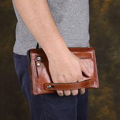Handmade Brown Leather Mens Long Wallet Wristlet Wallet Brown Zipper Clutch Wallet for Men Men Clutch Bag, Leather Clutch Bags, Leather Handbags, Brown Leather Purses, Black Purses, Leather Passport Wallet, Leather Wallet, Bags Online Shopping, Purse Organization