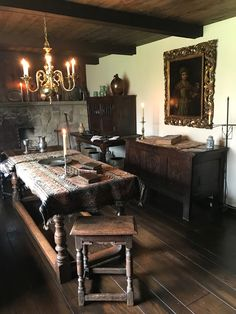 Dark wood and small windows in this design show off the 17th century medieval architecture Medieval home decor Tudor decor Medieval decor