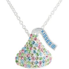"Hershey's Kiss Multi-Colored Crystal Silvertone Pendant, 18"""