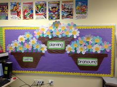 Pronouns! Used these flowers to name the subject and object pronouns. Flowers with colored petals were subject pronouns and flowers with white petals were object pronouns. Each petal had a pronoun with an example on it. We had fun making them!