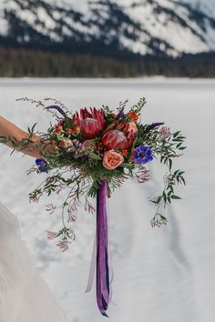 Mountain Wedding Bridal Bouquet by Something Blue Floral Design, Winter 2017, Photography by Swept Away Photo Co.