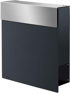 Design Briefkasten NAMUR Anthrazitgrau / Edelstahl von Max Knobloch - MK-DB1020-VA-AT-GLAENx online kaufen in unserem Shop | www.bruh.de