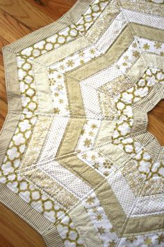 Gold Quilted Tree Skirt Pattern using precuts and quilt as you go techniques.