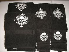 Full Set of Damask SKULL Bath towels GIFT by HeritageEmbroidery