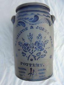 4 Gallon Cobalt Blue Stoneware :  Hamilton and Jones - Star Very Rare Pottery