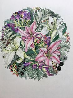 Colouring Techniques, Tropical Flowers, Colored Pencils, Coloring, Lily, Tutorials, Watercolor, Book, Drawings