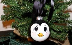 Hand Painted Penguin Ornament. $10.00, via Etsy.