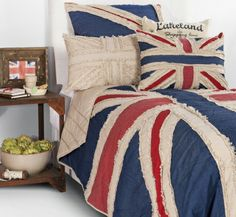 Fabulously textured Union Jack Flag Quilt with natural linen colour reverse. With raw edges and and timeless hues the Buckingham Quilt is a beautiful addition to any room. Visit www.hardtofind.com.au #gift #flag #bedroom #home